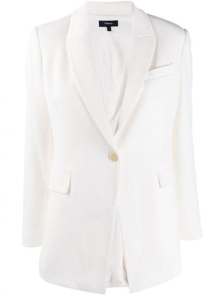 С рукавами белый удлиненный пиджак на пуговицах Theory