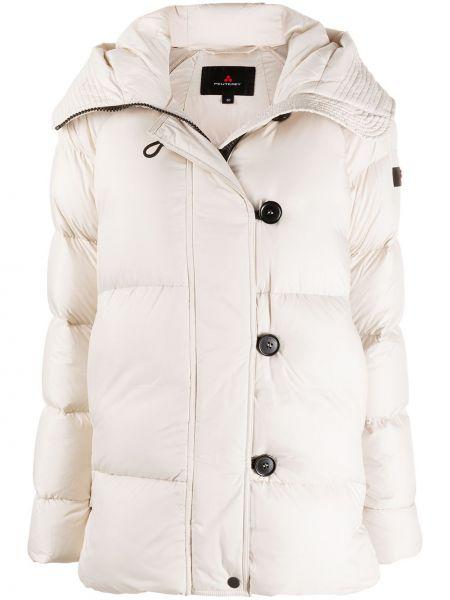 Пуховая белая куртка с капюшоном Peuterey