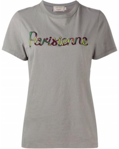 Хлопковая прямая серая футболка с круглым вырезом Maison Kitsuné