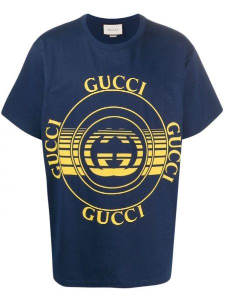 Bielizna niebieski bawełna koszula krótkie z krótkim rękawem okrągły dekolt Gucci