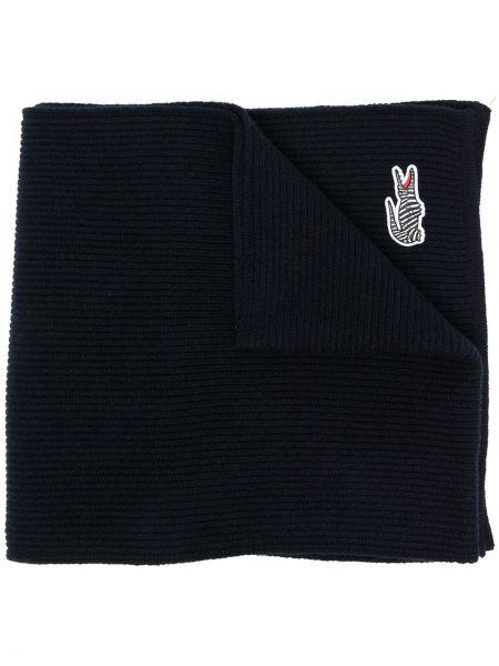 Тонкий синий шерстяной шарф Lacoste