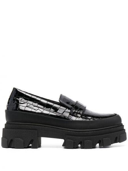 Czarne loafers skorzane na obcasie Ganni