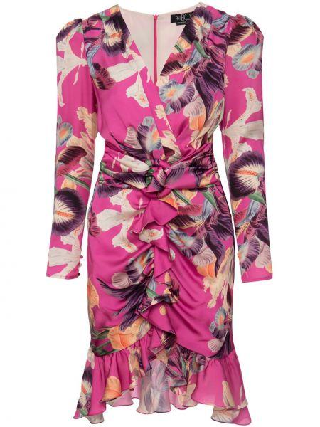 Розовое платье миди с V-образным вырезом с оборками на молнии Patbo