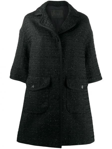 Акриловое черное пальто с лацканами с карманами Herno