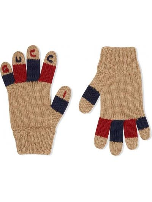 Шерстяные перчатки эластичные с вышивкой Gucci Kids