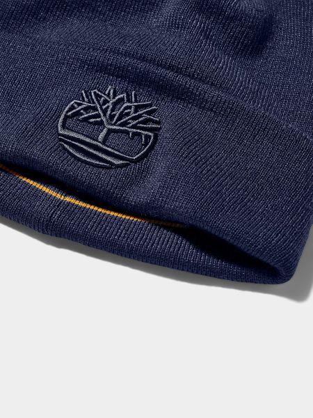 Синяя акриловая шапка с вышивкой Timberland
