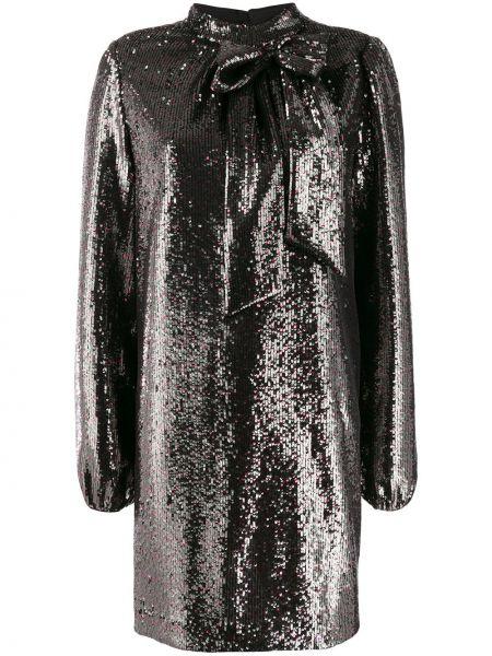 Czarna sukienka mini z długimi rękawami z jedwabiu N°21