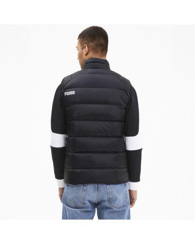 Пуховая черная жилетка на молнии с карманами Puma