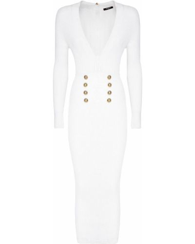 Biała złota sukienka midi zapinane na guziki Balmain