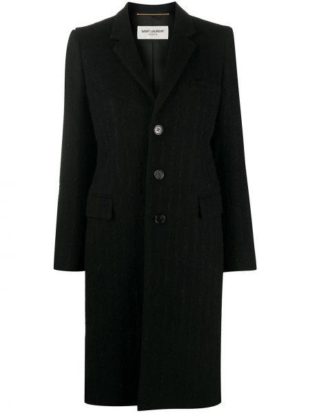Шерстяное черное длинное пальто с карманами Saint Laurent
