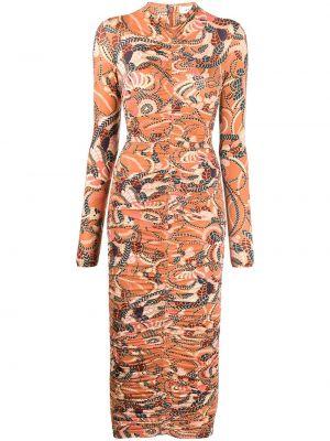 Платье миди в цветочный принт - оранжевое Alc
