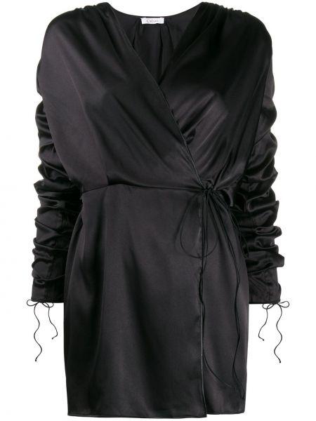 Платье мини с длинными рукавами с V-образным вырезом с манжетами на молнии Oseree