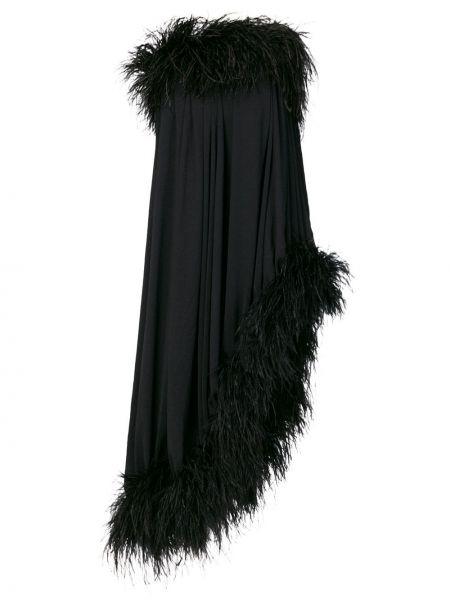 Платье миди шелковое с открытыми плечами Saint Laurent
