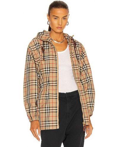 Бежевая куртка с капюшоном на молнии Burberry
