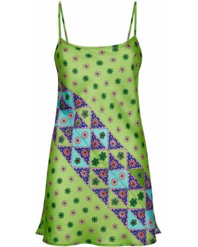 Прямое зеленое платье мини с вырезом Frankie's Bikinis