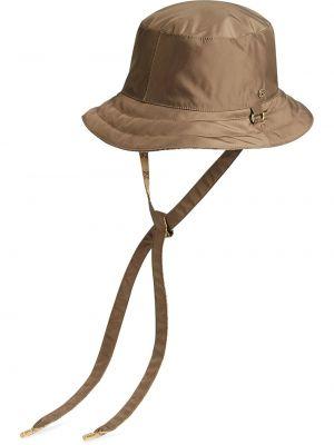 Brązowy kapelusz z haftem z nylonu Gucci