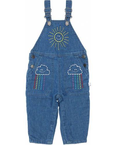 Джинсовый комбинезон с карманами на пуговицах с вышивкой Stella Mccartney Kids
