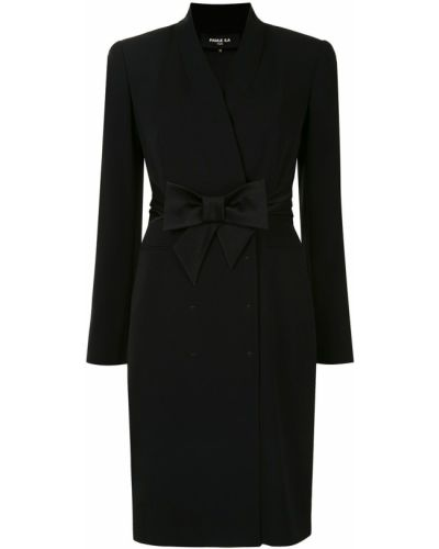 С рукавами черное платье с рукавами с запахом с V-образным вырезом Paule Ka