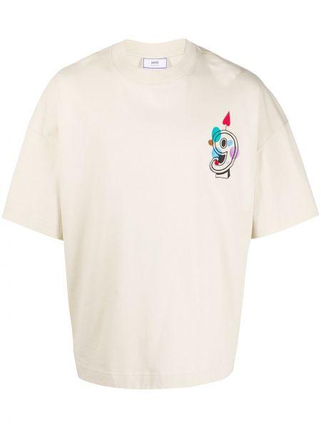 Biały t-shirt bawełniany z haftem Ami