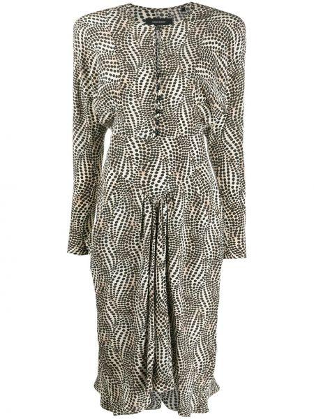 Beżowy jedwab długo sukienka z kieszeniami z długimi rękawami Isabel Marant