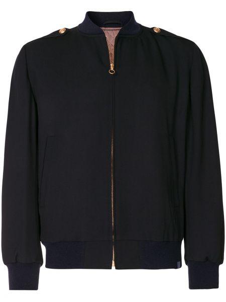 Czarna długa kurtka wełniana z długimi rękawami Kent & Curwen