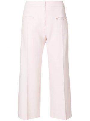 Розовые шерстяные укороченные брюки свободного кроя Carven