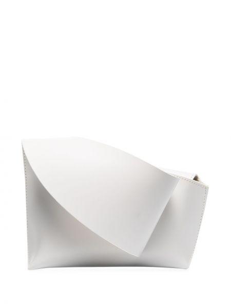 Кожаная с ремешком белая сумка Venczel
