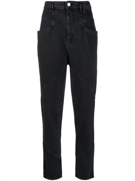 Z wysokim stanem bawełna czarny jeansy na wysokości z kieszeniami Isabel Marant