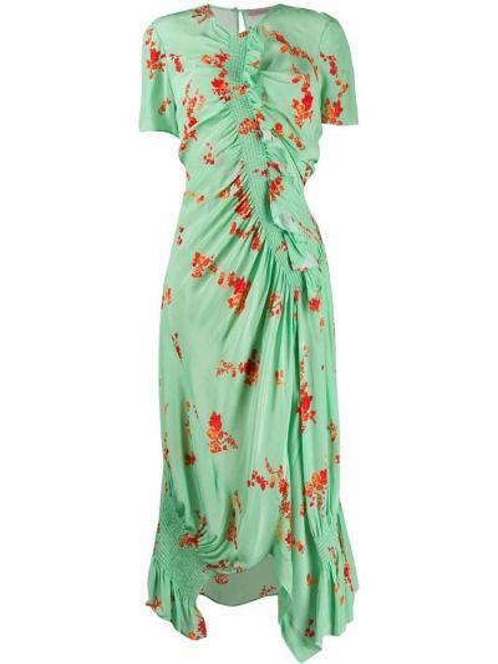 Приталенное асимметричное платье мятное на молнии Preen Line