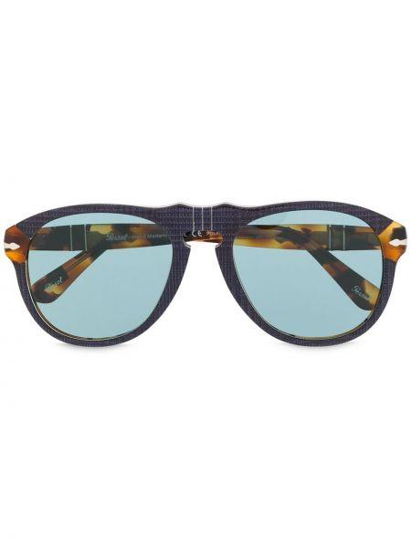 Синие солнцезащитные очки круглые Persol