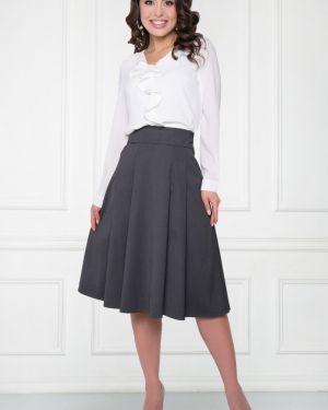 Шерстяная костюмная юбка шестиклинка с поясом на пуговицах Bellovera