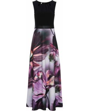 Летнее платье с цветочным принтом черное Bonprix