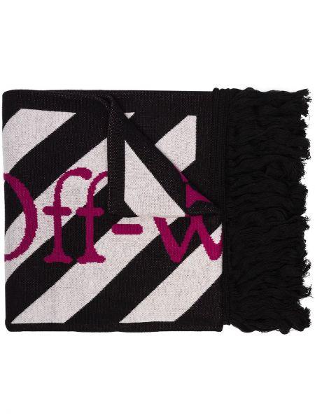 Czarny szalik wełniany w paski Off-white