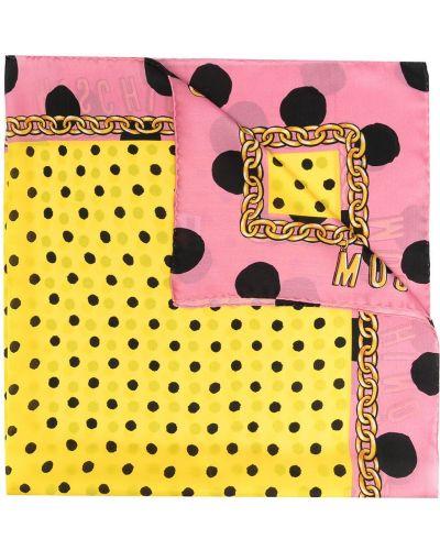Желтый шелковый платок в горошек Moschino