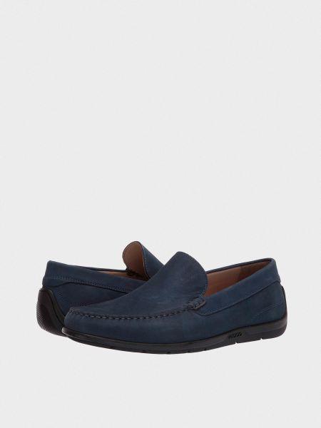 Синие кожаные мокасины Ecco