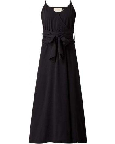 Czarna sukienka rozkloszowana bawełniana z wiązaniami Shiwi