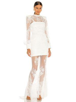 Satynowa biała sukienka wieczorowa koronkowa Zhivago