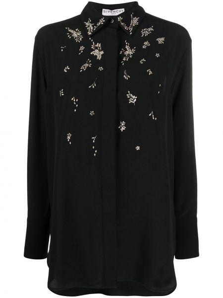 Klasyczny bluzka z długim rękawem z kołnierzem zapinane na guziki z mankietami Givenchy