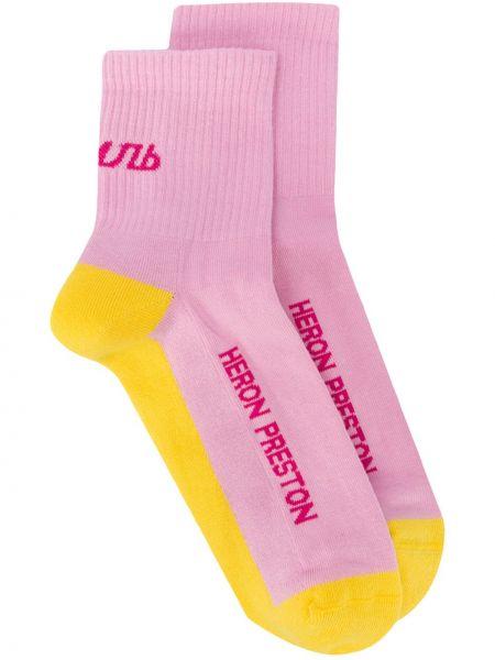 Хлопковые розовые вязаные носки Heron Preston