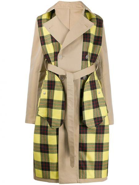 Шерстяное бежевое длинное пальто с воротником Unravel Project