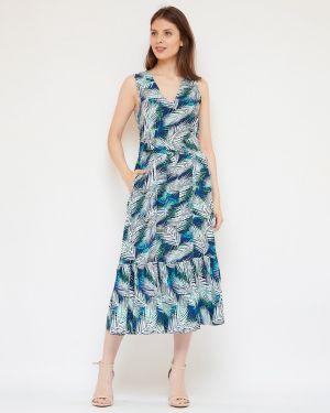 Хлопковое летнее платье с V-образным вырезом на молнии без рукавов Fiato