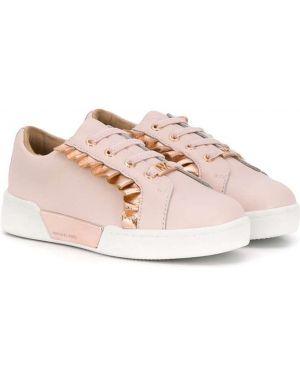 Золотистые розовые кожаные кроссовки с оборками Michael Kors Kids