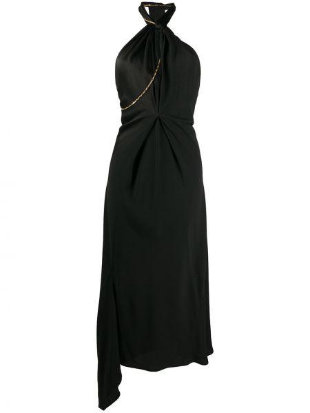 Черное асимметричное платье с вырезом из вискозы Victoria Beckham