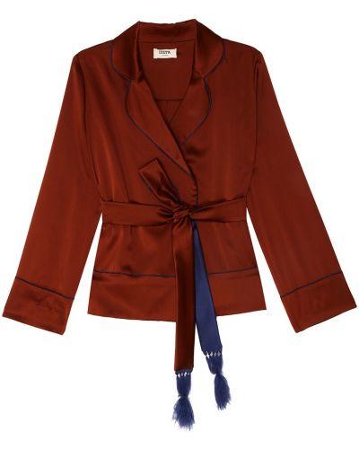 Свободный коричневый удлиненный пиджак с поясом Izeta