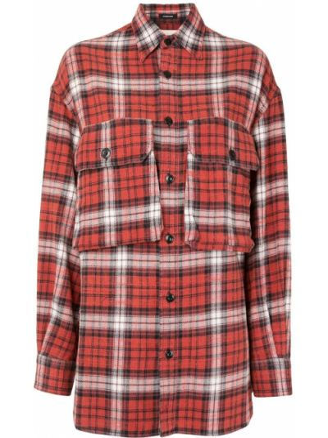 С рукавами красная рубашка в клетку R13