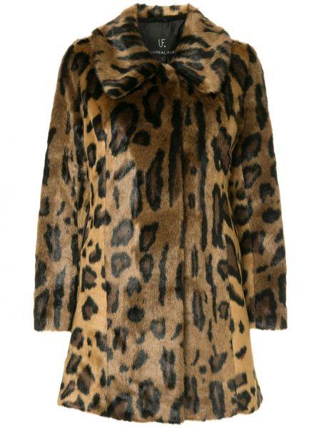 Акриловое длинное пальто с капюшоном на крючках Unreal Fur