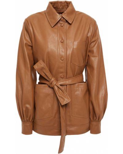 Кожаная куртка с заплатками - коричневая SamsØe Φ SamsØe
