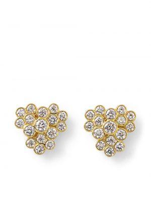 Золотистые серьги-гвоздики золотые с бриллиантом Ippolita