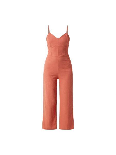 Bawełna pomarańczowy spodni kombinezon z zamkiem błyskawicznym z dekoltem w szpic Edited