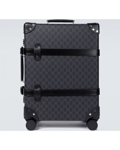 Ватный кожаный черный чемодан Gucci